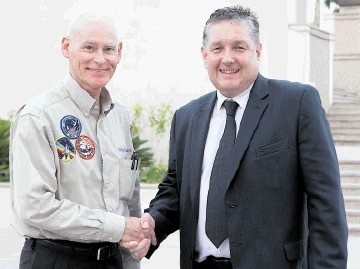 MESSENGER: Astronaut Colonel Mike Mullane with Opito's David Doig