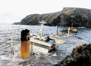 SUNK:  The Braer tanker went aground  off Shetland in January 1993, spilling 85,000 tonnes of crude oil into the sea, prompting   compensation claims