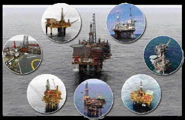 OUT OF ACTION: North Sea platforms including the Cormorant Alpha, centre, have been forced to cease operations because of the leak