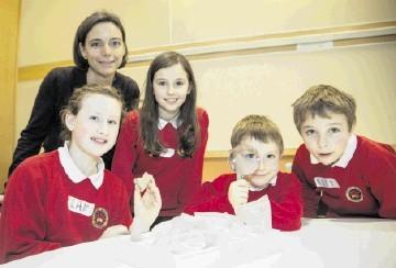 Elizabeth Padmos, BP Link Ambassador, with Logie Durno Primary School pupils Claire Jamieson, 11, P7, Sarah Crooke, 10, P6, James Padmos, 8, P4, and Alex Gullan, 10, P6