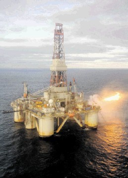 MAIN HURDLE: The Global Sante Fe rig drilling on the Columbus field