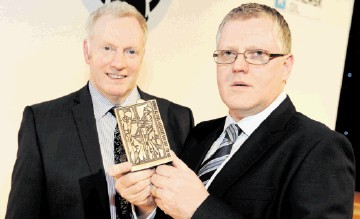 TEAM EFFORT RECOGNISED: Grahame Smith, left, and Derek Allan with the workforce engagement award. Kenny Elrick