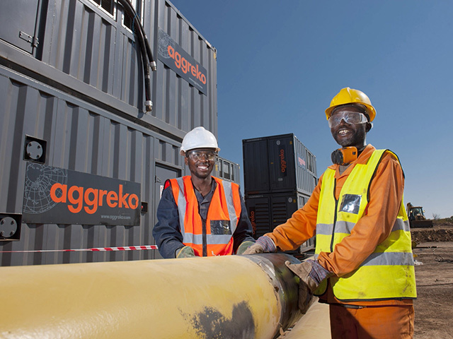 Aggreko's interim gas-fired power plant at Gigawatt Park in Ressano Garcia, Mozambique