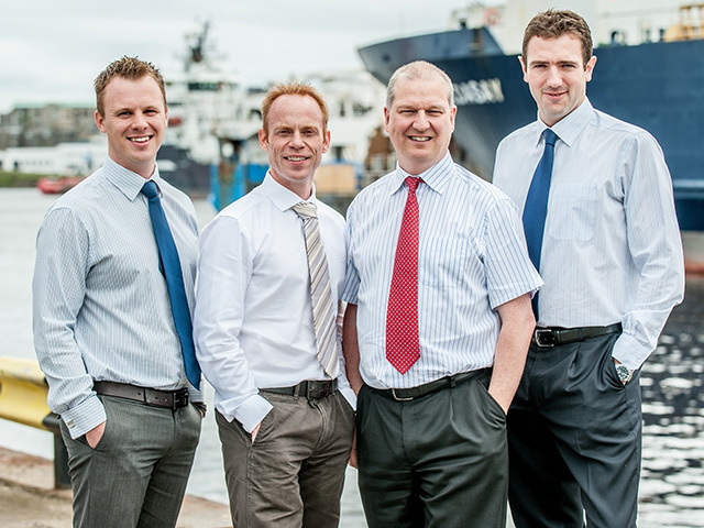TOP TEAM: From left, Richard Bell, Steve Leaper, Jonathan D'Arcy and Ryan Menzies at Aberdeen harbour