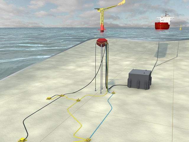 Artist's impression of how an Enegi Oil field using equipment from Advanced Buoy Techology could look