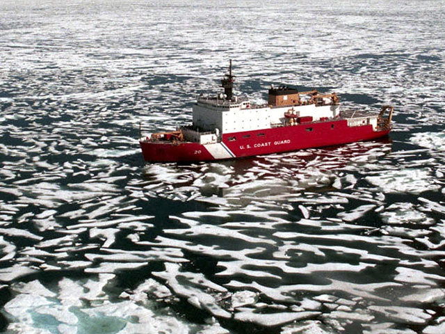 The Coast Guard Cutter Healy threads its way through loose pack ice