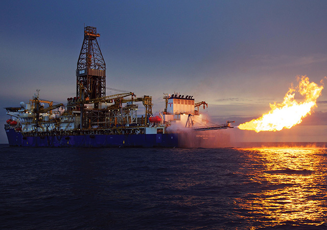 A rig burns gas after a discovery