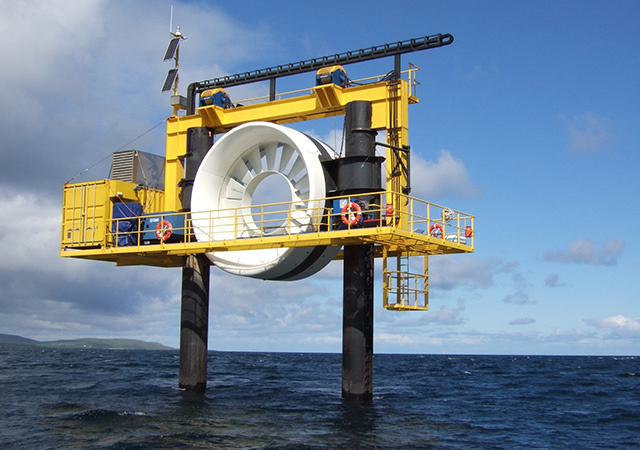 OpenHydro, a pioneering tidal scheme installed at the EMEC test site at the Fall of Warness, off Eday in Orkney