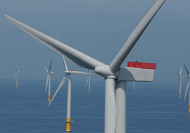 Turbines at Greater Gabbard offshore windfarm.