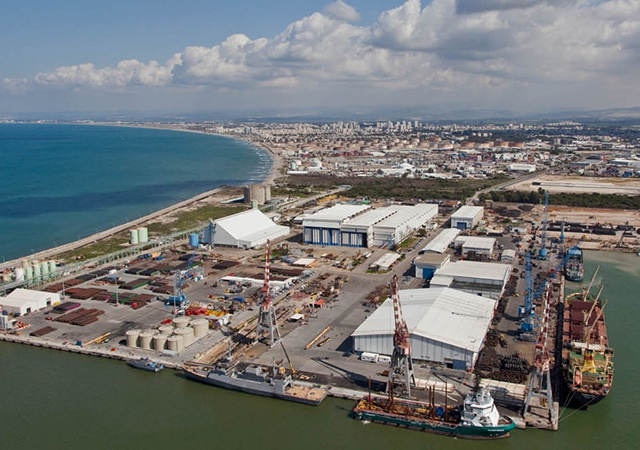 The Israel Shipyards offshore supply base at Haifa.
