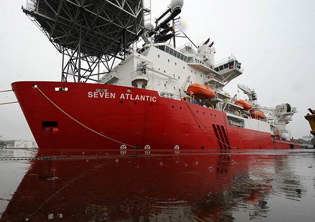 Subsea 7's Diving Support Vessel Seven Atlantic berthed at Aberdeen Harbour