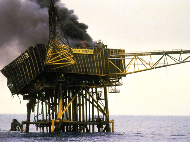 The burning wreckage of Piper Alpha
