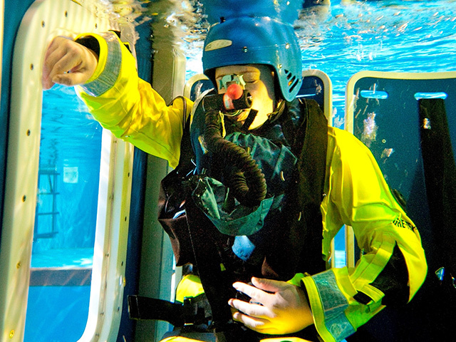 Underwater survival training at Survivex