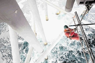 A scaffolder at work on a North Sea platform.