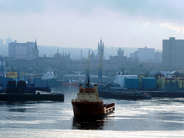 Aberdeen Harbour with the city centre in the background