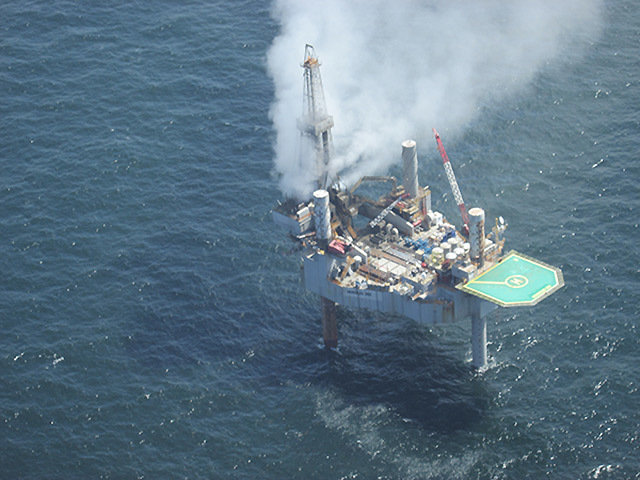 Gas escapes from the well at the Hercules 265 rig in the Gulf of Mexico. Pic: Bureau of Safety and Environmental Enforcement