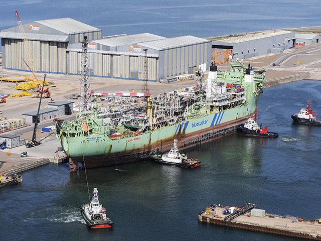 WHEN THE BOAT COMES IN: The Haewene Brim at Nigg, where she is undergoing topsides modifications