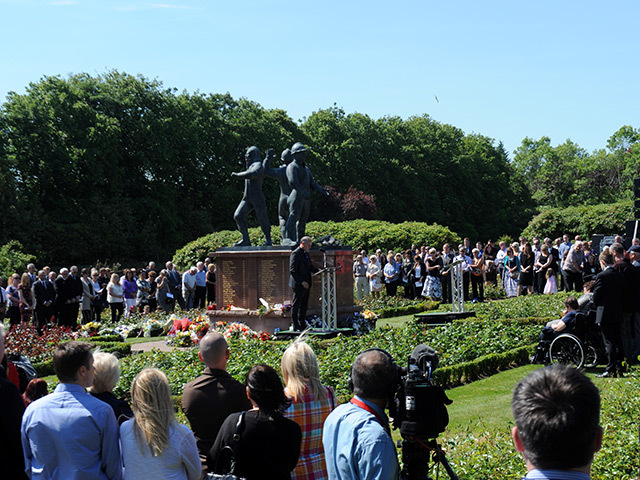 The memorial service at the Piper Alpha memorial marking 25 years since the disaster.