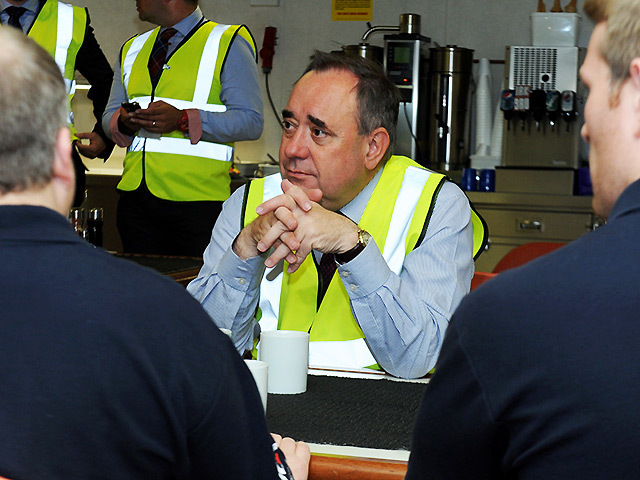 The First Minister Alex Salmond MSP meets workers on Bibby Offshore's oil support vessel Polaris at Montrose South Quay while launching the paper. Pic: Colin Rennie