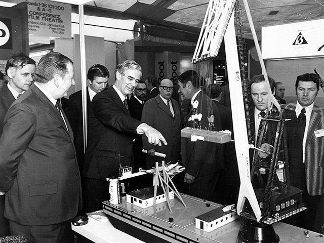 Lord Polwarth takes a particular interest in a model at Offshore Europe in 1973