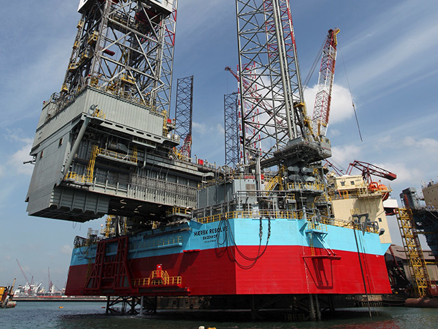 The Maersk Resolve jack-up rig.