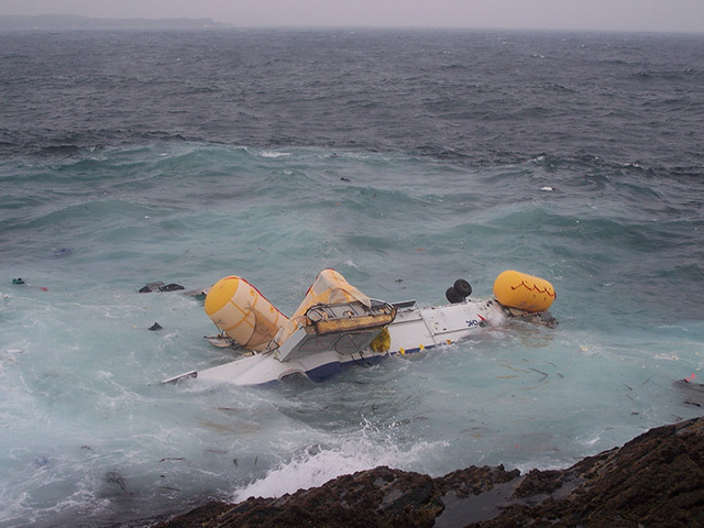 Wreckage from the Super Puma floats in the sea off Shetland.