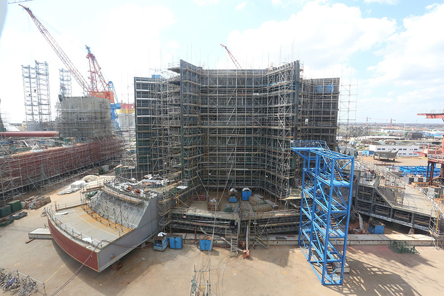 Elevation on Dana Western Isles FPSO showing internal blocks up to level 24.1m and part external (side shell) blocks up to level 5.8m (outer bilge box).