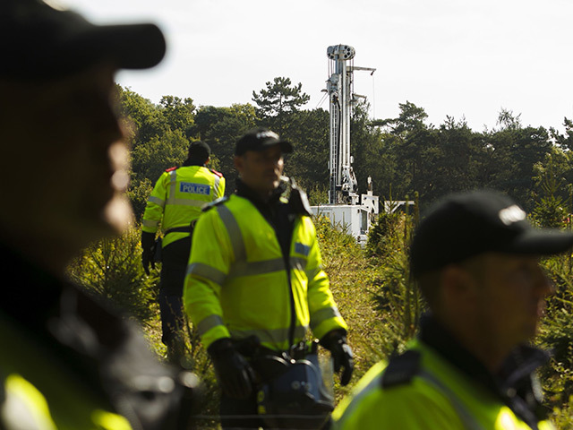 Police guarding Cuadrilla's fracking site in Balcombe.
