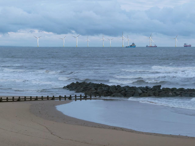 Artists impression of the scale of the wind farm off the coast of Aberdeen that is being opposed by Donald Trump.