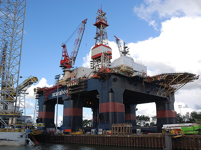 The rig Scarabeo 5 at the Verolme yard, Rotterdam, last month