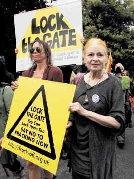 Designer Dame Vivienne Westwood joined activists at the Cuadrilla drilling site near Balcombe