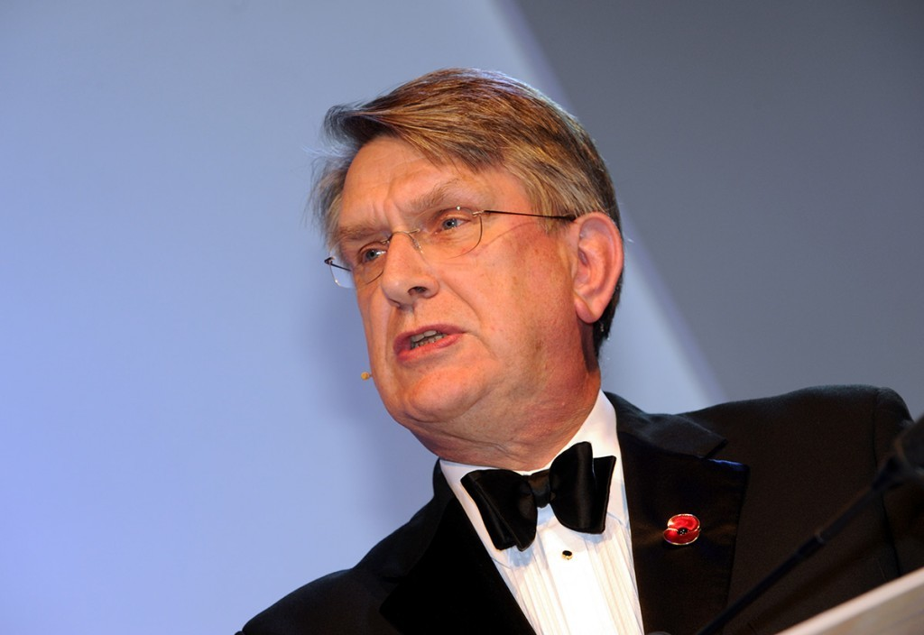 Oil and Gas UK chief executive Malcolm Webb addresses those gathered at the AECC