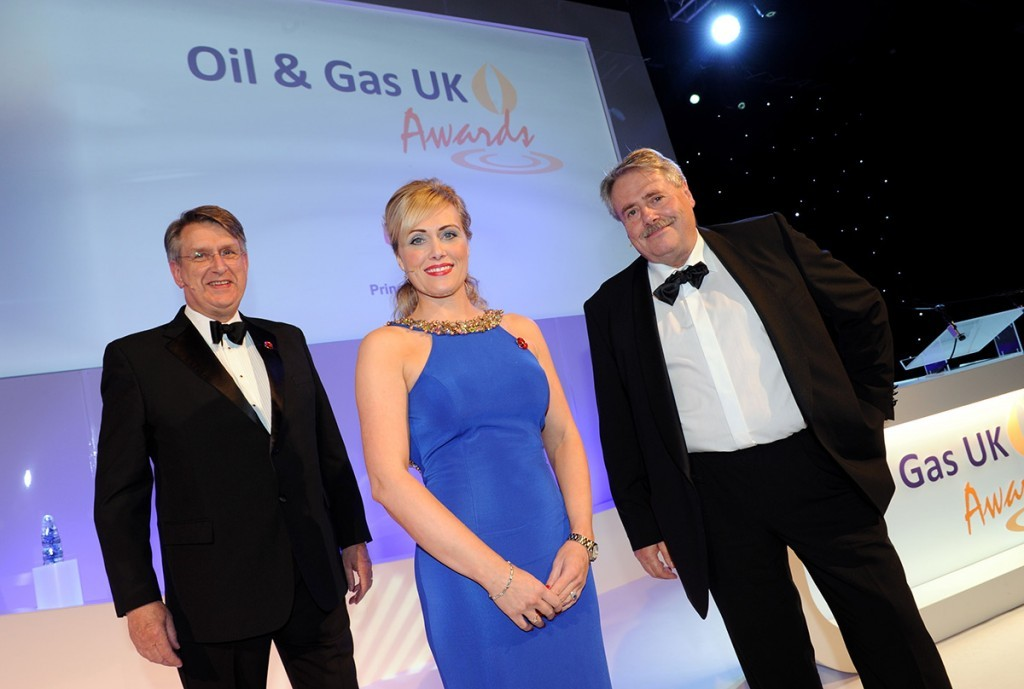 Oil & Gas UK chief executive Malcolm Webb with awards host, Pauline Cook and Glen Cayley, Shell UK Upstream Director