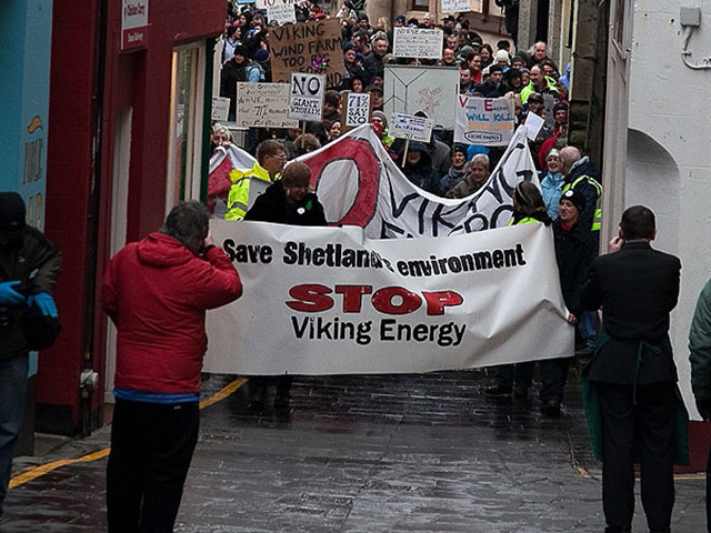 WE SAY NO: Around 350 Shetlanders turned out in this protest to express their opposition to Viking Energy's plans for a huge windfarm on the islands' mainland