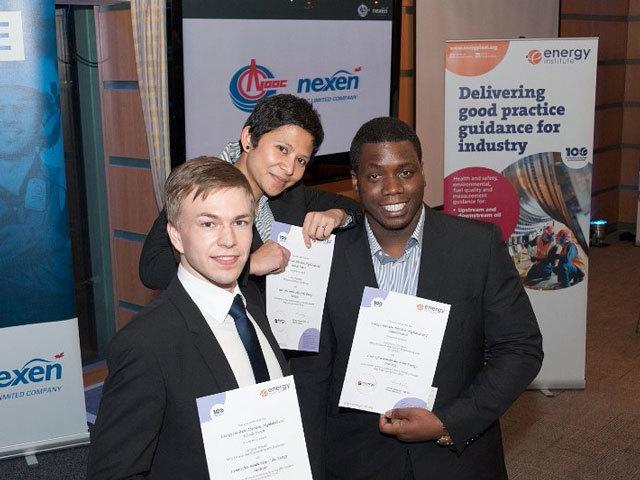 The top three, from left, Chris Knedel (RGU), Loli Anggraini (Aberdeen) and Toochukwu Onwuliri (RGU)