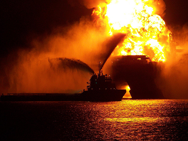 Blazing remnants after the Deepwater Horizon explosion in 2010