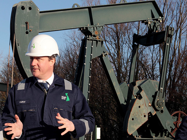 Prime Minister David Cameron during a guided tour of the IGas  shale  drilling plant oil depot near Gainsborough, Lincolnshire