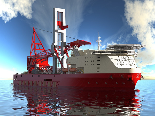 The JSD 6000 deepwater derrick lay vessel