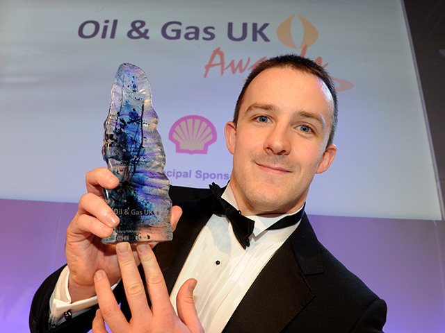 James Gladden, winner of the Oil & Gas UK Award for Young Technician of the Year, at the Oil & Gas UK Awards 2013. Pic: Kevin Emslie