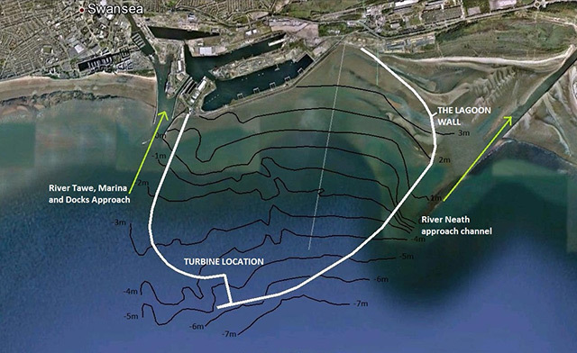 Aerial image of Swansea Bay showing tidal lagoon layout