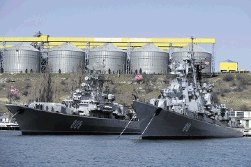 Russian Black Sea fleet ships anchored in one of the bays of Sevastopol, Crimea