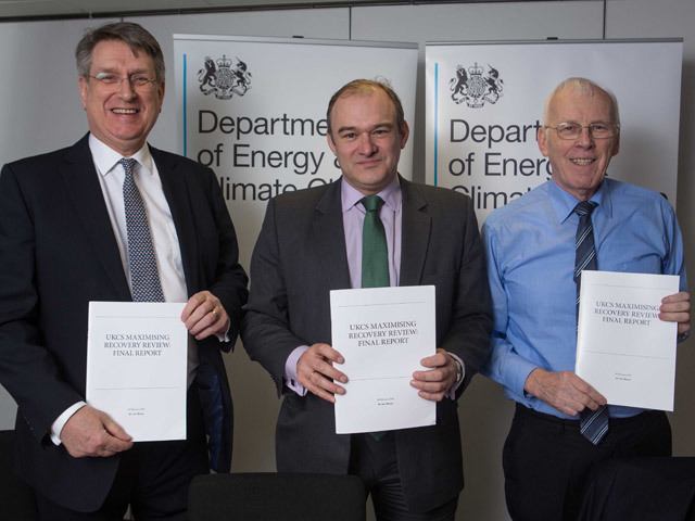 Chief executive of Oil and Gas UK Malcolm Webb, Secretary of State for Energy Ed Davey and Sir Ian Wood at the unveiling of the report in February