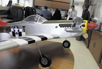 """A replica of a World War II P-51 Mustang red-tail aircraft was used at the Naval Research Laboratory to test """"fuel from the sea"""" concept"""