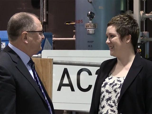 Sinead Watson speaking to Opito's UK managing director, John McDonald
