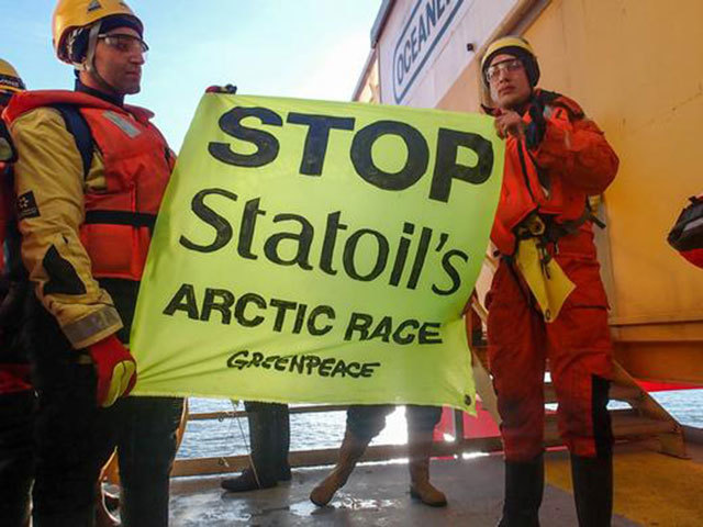 Statoil's Arctic operations have also faced setbacks from environmental protests. Photo courtesy of Greenpeace