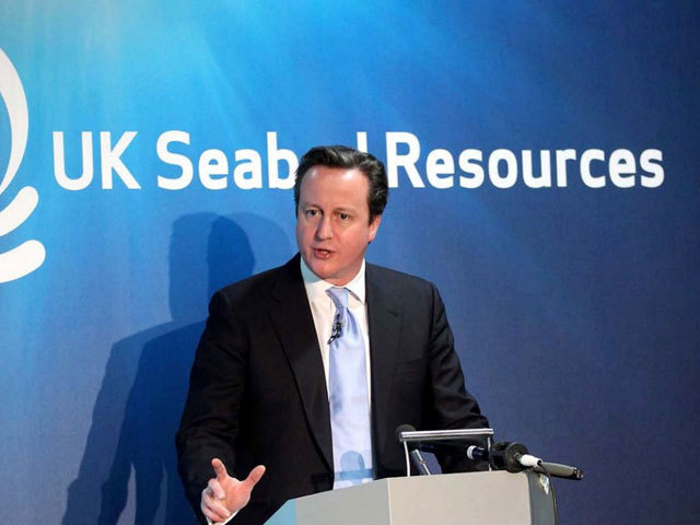 David Cameron making an announcement at the UK Seabed Resources conference.