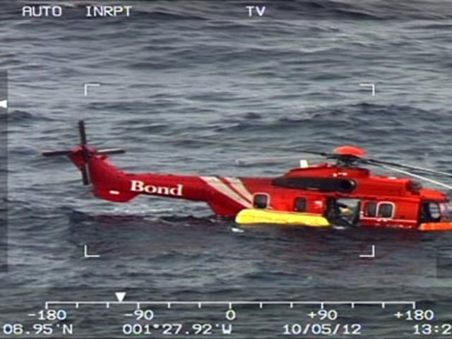 Images of the downed  helicopter which ditched in the North Sea. The incident - about 30 miles east of Aberdeen - involved a Bond EC 225 Super Puma  helicopter.