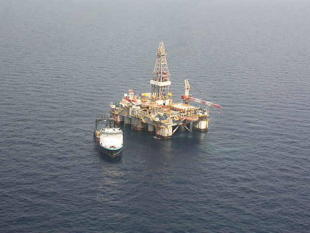 Rig Ensco 8506 appraisal drilling in the huge Leviathan gasfield offshore Israel