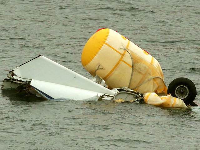 The wreckage of the helicopter which went down off Shetland in 2013