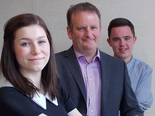 Derek Leith, centre, with Career Academies EY Summer Placement students Georgina Ward and Iain Smith